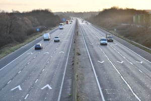 Traffic travels between junctions 18 and 19 of the M4 motorway