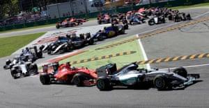 Hamilton leads Vettel at the start.