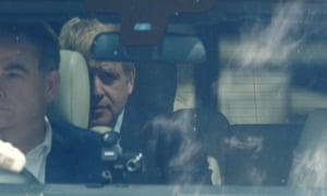 Boris Johnson being chauffeured