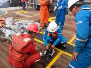Plane debris believed to be from Lion Air flight JT610, recovered from the crash site in the Java sea.