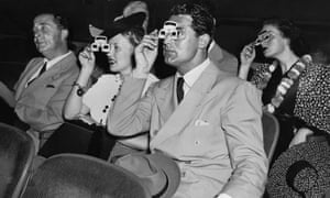 Cary Grant and Phyllis Brooks watching a 3D Movie. 1939.