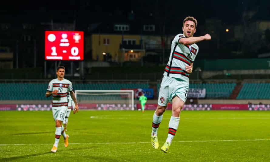 Diogo Jota celebrates scoring against Luxembourg