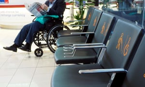 Seating area for elderly and disabled passengers at London City Airport.