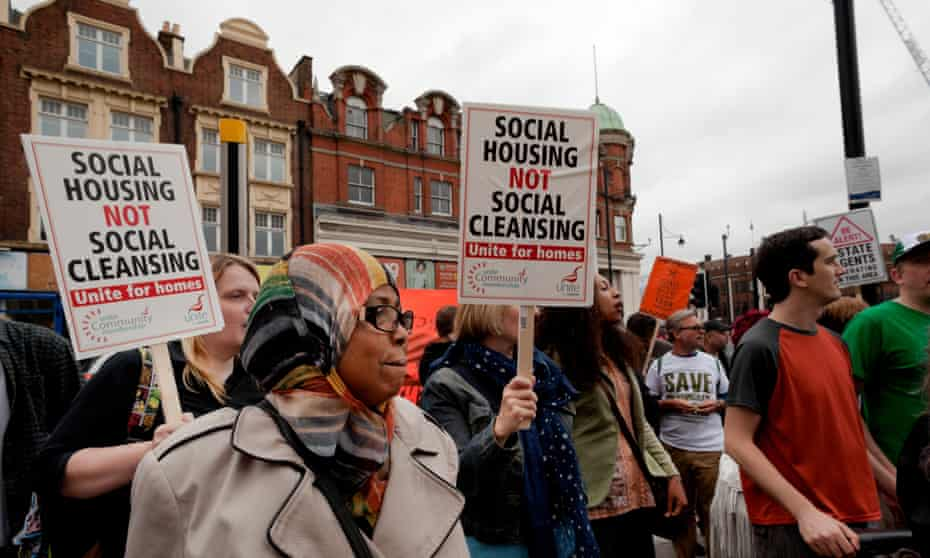 A demonstration against the demolition of social housing at Lambeth Town Hall in 2015.