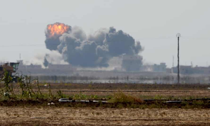 A coalition airstrike on Isis targets during an operation with the Free Syrian Army in Dabiq, Syria.