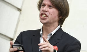 Lauri Love outside Westminster magistrates court on Wednesday