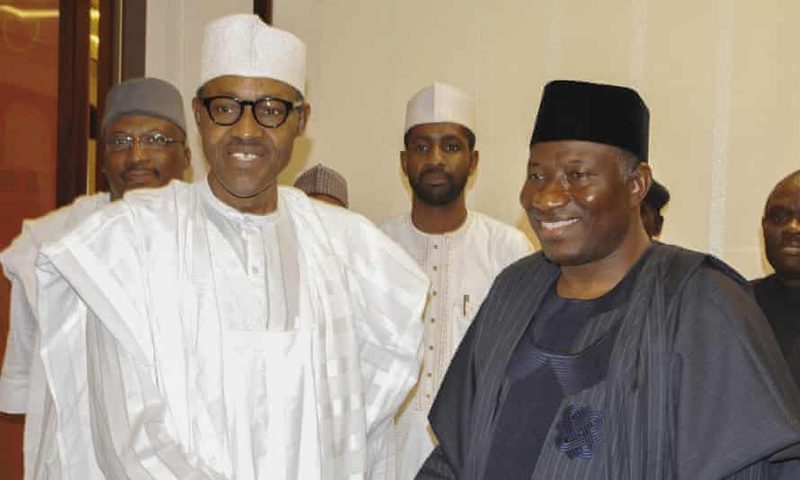 President elect Muhammadu Buhari, left, pictured with outgoing president Goodluck Jonathan on Friday, has vowed a hard line against Boko Haram when he takes office in late May.
