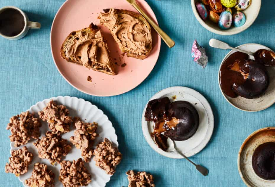 Egg amnesty: Ravneet Gill's leftover Easter eggs reinvented as choc cereal clusters, hazelnut chocolate spread and flour-free fondant.