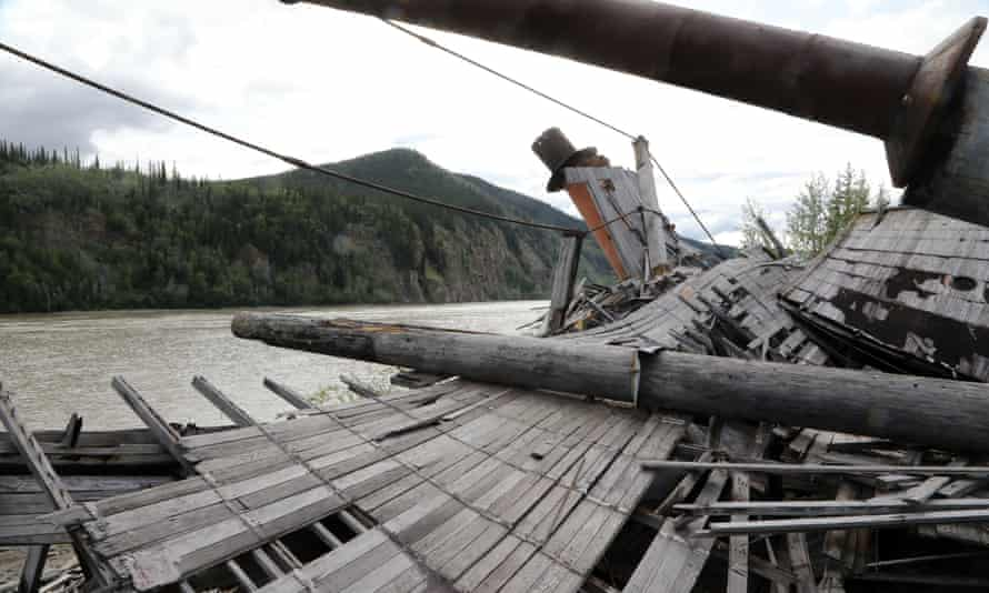 One of the wrecked paddle-steamers by the Yukon river near Dawson.