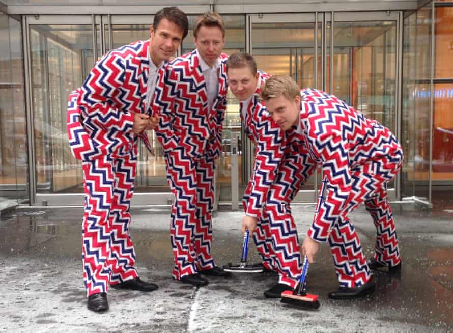 Norway's Men's Olympic Curling Team wear their new Sochi suits