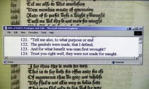Chaucer's Canterbury Tales online at the British Museum, where a modern english translation runs parallel to the original. Pictured is an excerpt from the Wife of Bath's Tale.