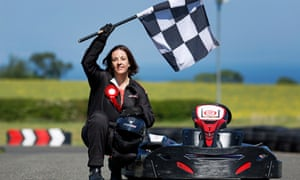 Kezia Dugdale, the Scottish Labour leader, on a campaign visit to Raceland in East Lothian, where she took part in go-kart racing.