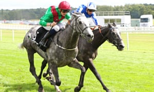 Technician, ridden by Rob Hornby in the green and red colours, beats Morando, with Silvestre de Sousa on board, in the Geoffrey Freer Stakes at Newbury on Saturday.