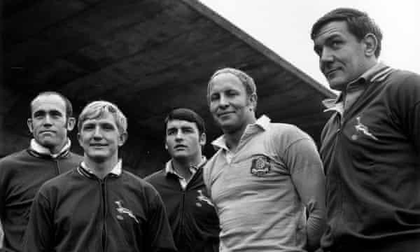 The Springboks captain Dawie de Villiers (second left) became a politician and served in Nelson Mandela's cabinet.