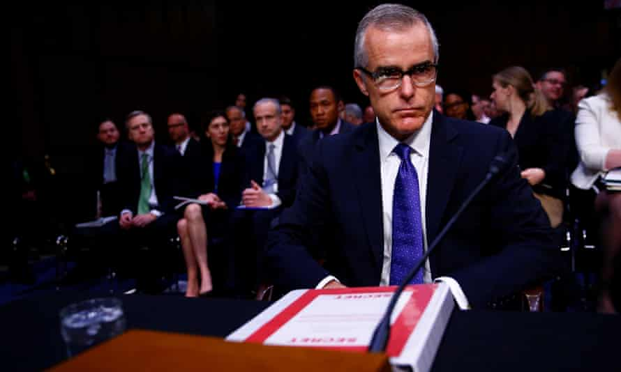 Andrew McCabe arrives to testify before the Senate intelligence committee in May 2017.