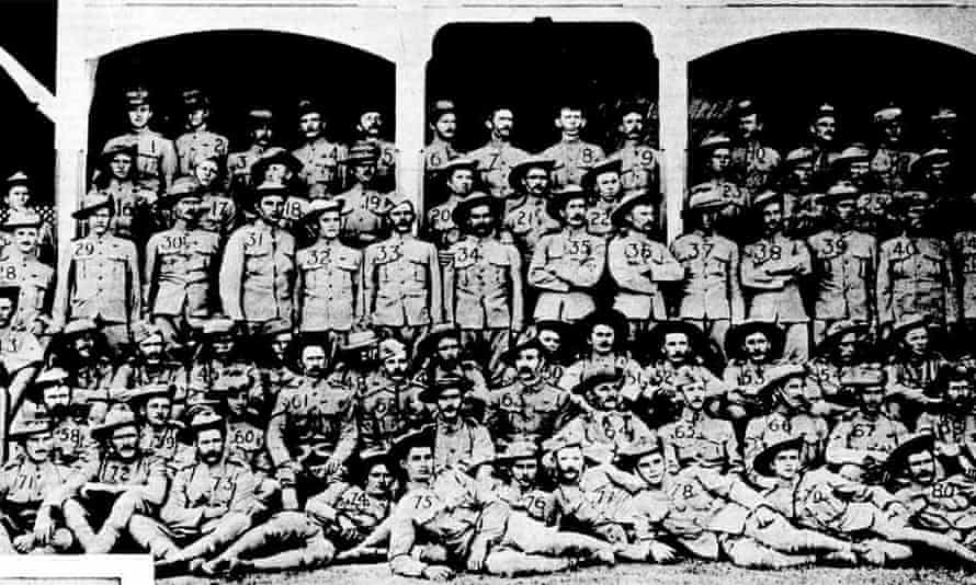 Indigenous Australian Jack Alick Bond, solider no 67 on the bottom right, was among the first contingent to arrive in Cape Town in February 1900.