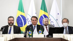 2 July: (from left) The foreign minister Ernesto Araújo, Bolsonaro and the economy minister Paulo Guedes at the first Mercosur Summit held via video conference due to the coronavirus pandemic.