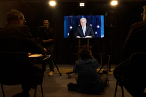 The Prime Minister at a virtual press conference from his isolation at the Lodge to the blue room of Parliament House in Canberra