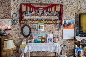 A master bedroom at a home in Brixton, March, 2018, from Windrush generation portraits by Jim Grover