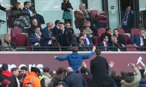 West Ham United fans gather in front the directors box in order to vent their frustrations against the West Ham United owners during the Premier League match at the London Stadium.
