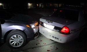 Crash scene in Texas after a student hit a police car while allegedly taking a topless selfie.