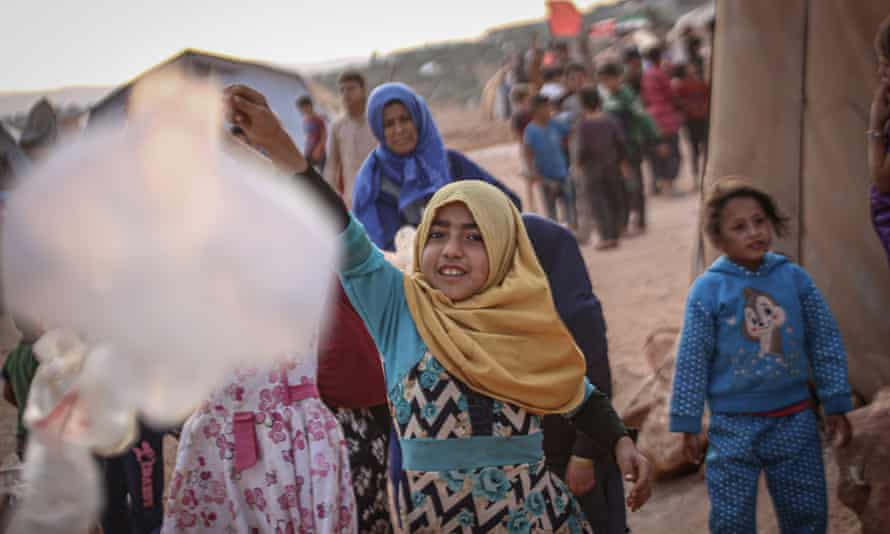 Children at a refugee camp near Syria's border with Turkey in July 2020.
