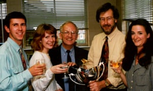 Vanessa Thorpe, far right, Barry Brennan, second from right, and members of the Hendon Times staff celebrate an award.