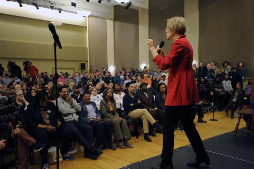 Elizabeth Warren addresses a town hall meeting in Roxbury, Massachusetts.