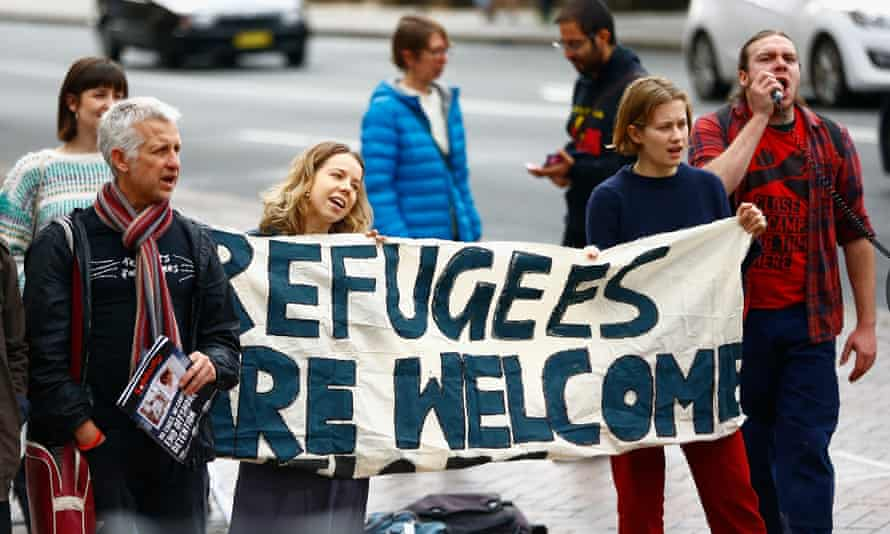 Protesters at a welcome refugees protest in Sydney, 28 July 2018