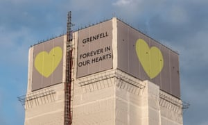 Grenfell Tower covered in scaffolding after the fire.