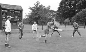 England players play cricket during training at Roehampton, London, left to right: Bobby Charlton; Terry Paine; Nobby Stiles; Alan Ball (batting); Gerry Byrne and Peter Bonetti.