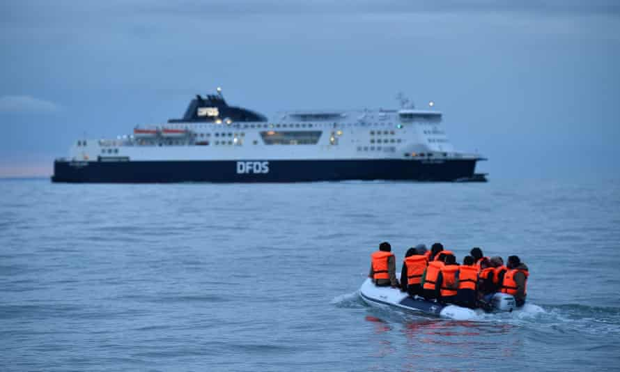 Migrants sail across the English Channel in a dinghy, September 2020.