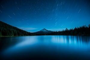 Polaris over Mount Hood, Oregon, US