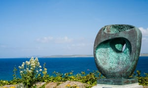 St Ives scenic viewpoint over the atlantic ocean with Barbara Hepworth epidaurous bronze statue