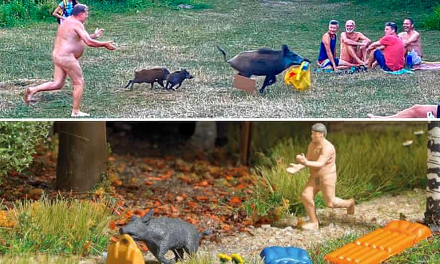 The original image of the naked man in pursuit of a wild boar that had snatched his laptop, and the 'action set' of the scene.