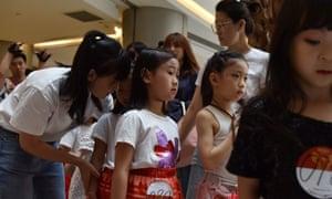 Children wait in line