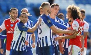Arsenal's Matteo Guendouzi (right) clashed with the Brighton forward Neal Maupay (left) after the game.