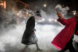 People celebrate in the Brooklyn borough of New York