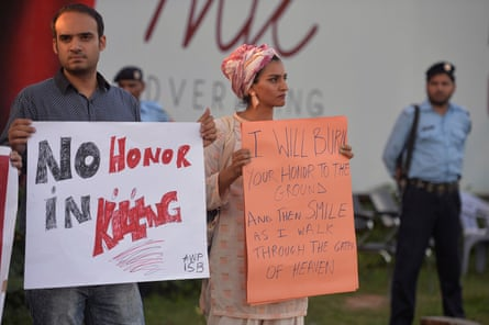 Protesters in Islamabad in July, 2016 following the murder of Qandeel Baloch