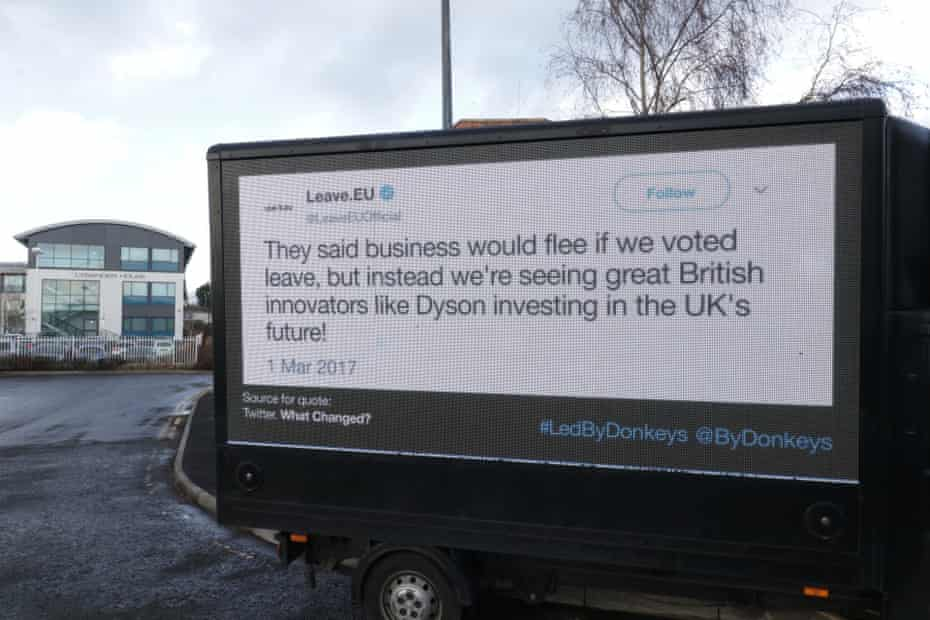 The group has also been following Farage's March to Leave from Sunderland to London with two digital ad vans displaying a selection of tweets and declarations.