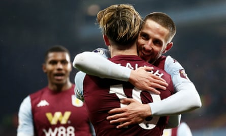 Conor Hourihane celebrates his goal with Jack Grealish in Aston Villa's 1-0 victory at home against Norwich.