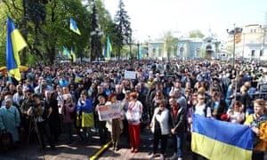A mass rally outside the Ukrainian parliament in Kyiv.