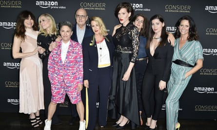 Soloway (third from left) with some of the cast of Transparent, 2017.