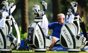 Darren Clarke takes a moment to relax during the practice round before the Eurasia Cup 2016 in Kuala Lumpur.