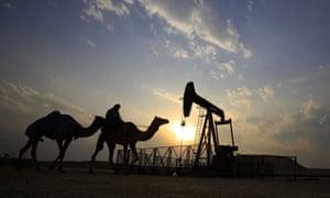 A desert oil field in the Sakhir area of Bahrain.