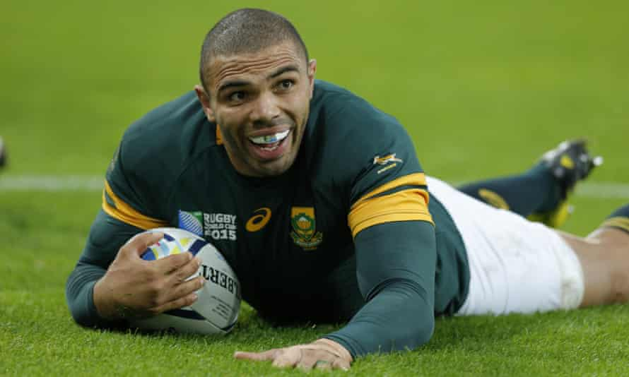 Bryan Habana's try to bring up his hat-trick took him level at the top of the all-time list of Rugby World Cup try scorers.