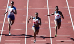 Dina Asher-Smith (centre) has broken through as a regular sub-11sec 100m runner this season but will not take part in the Athletics World Cup.