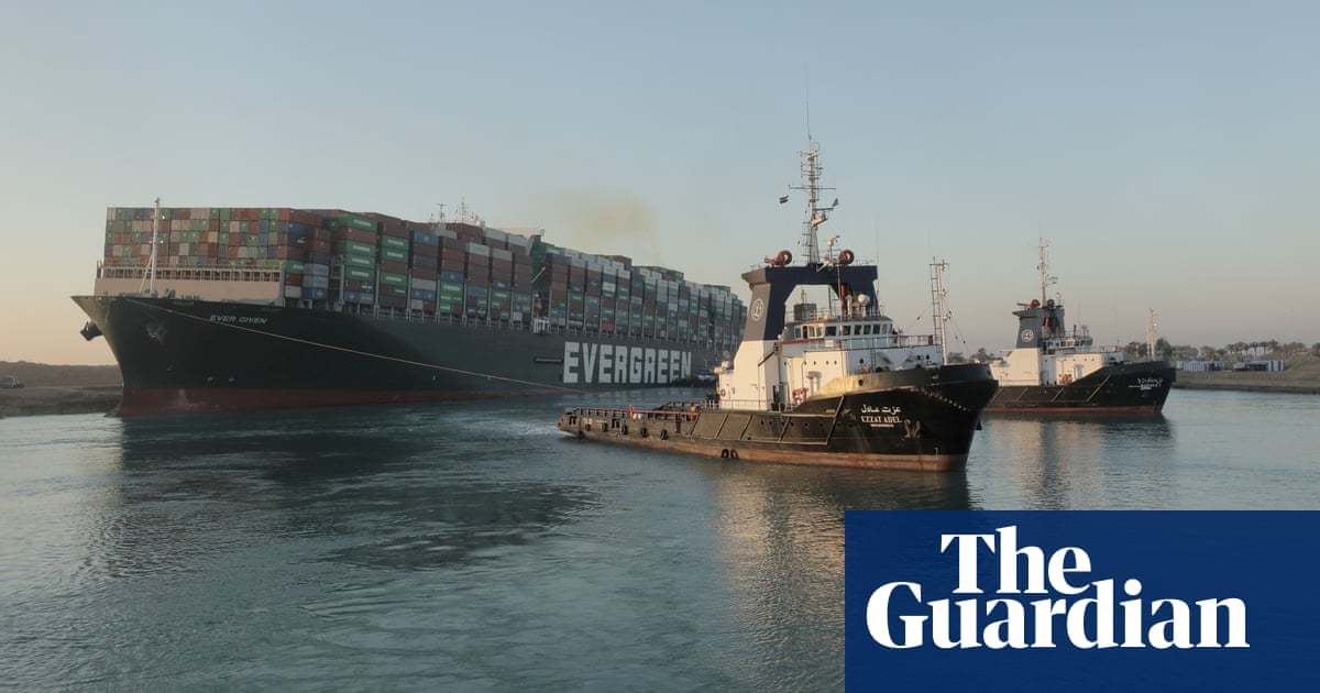 Suez ship partially refloated but bow remains stuck – video