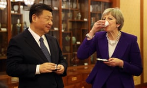 Theresa May and Chinese President Xi Jinping take part in a Tea Ceremony at Mr Jinping's official Diaoyutai State Guesthouse
