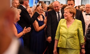 Angela Merkel arrives at the the opening of the Bayreuth festival.